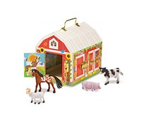 Melissa & Doug - Fienile in legno trasportabile con serrature e animali